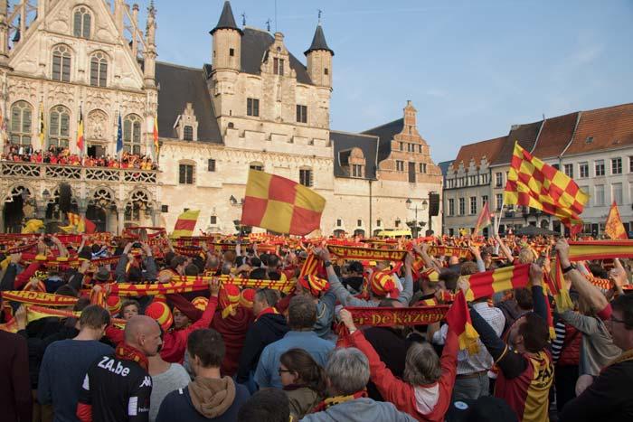 KV Mechelen feest op Grote Markt